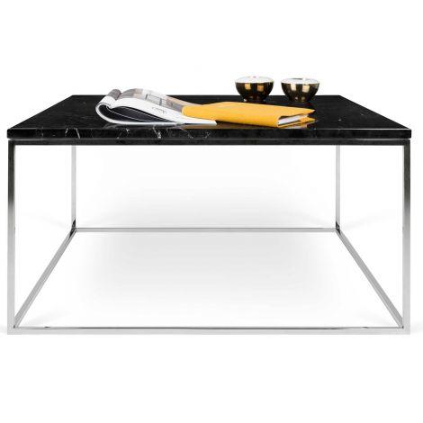 Salontafel Gleam 75x75 - zwart marmer/chroom