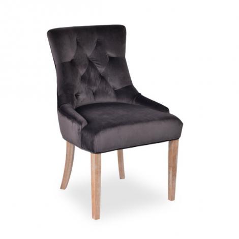 Set van 2 stoelen Christa velours - grijs/houten poten