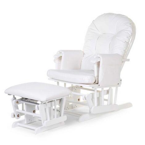 Fauteuil à bascule Gliding Chair avec repose-pieds - blanc