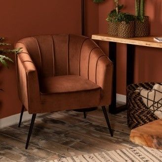 Fauteuil Chester in velours – champagne