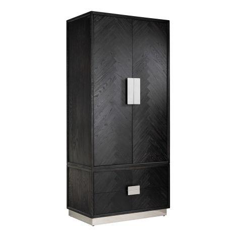 Kledingkast Bony 100cm 2 deuren & 2 lades - zwart/zilver