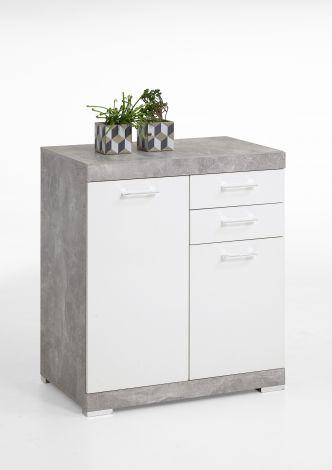 Commode Cristal 2 deuren en 2 laden 80x90x50 - beton/hoogglans wit