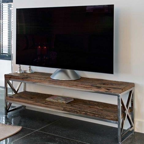 Tv-meubel Kensington 140cm - bruin/zilver