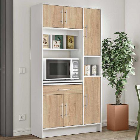 Keukenkast Louise voor magnetron - wit/eik