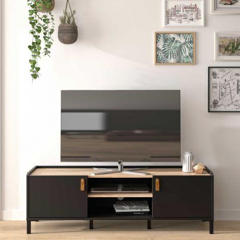 Tv-meubel Arnhem 2 deuren - zwart/kastanje