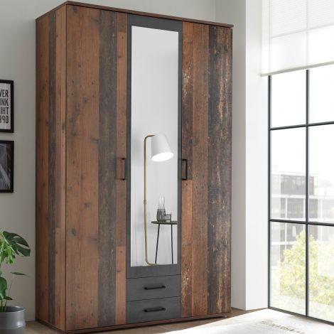 Armoire à vêtements Ellis 120cm à 3 portes & 2 tiroirs - vieux style/béton