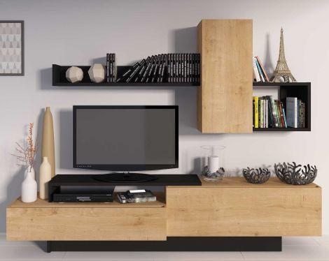 Tv-meubel Cosmit 240cm - eik/zwart