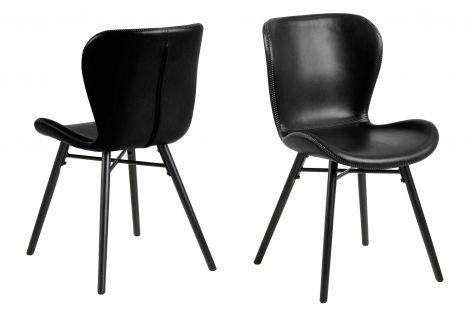 Set van 2 kunstlederen stoelen Tilda met schuine poten - zwart