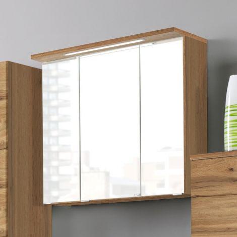 Spiegelkast Bobbi 70cm model 1 3 deuren & ledverlichting - eik