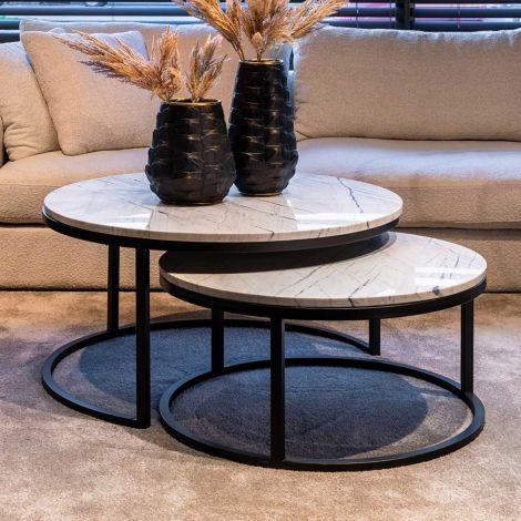 Set van 2 salontafels Lexington - wit/zwart