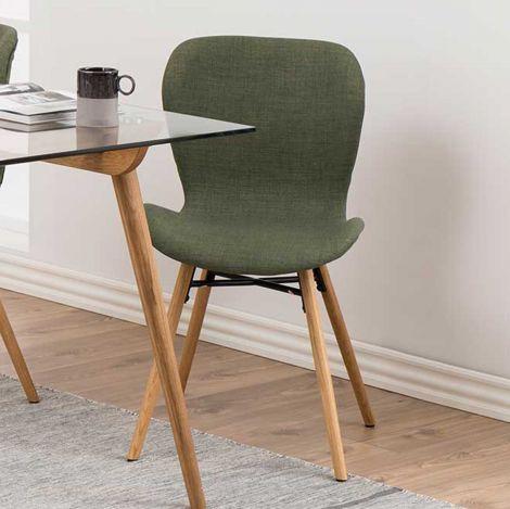 Set de 2 chaises en tissu Tilda avec pieds obliques - vert/chêne