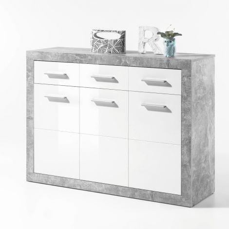 Commode Stanno 117 cm avec 3 portes & 3 tiroirs - béton/blanc