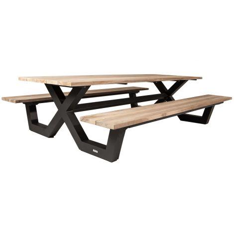 Picknicktafel Biabou 220x218 - zwart/grijs