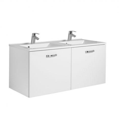 Meuble vasque Bobbi 120cm avec double vasque et 2 tiroirs - blanc