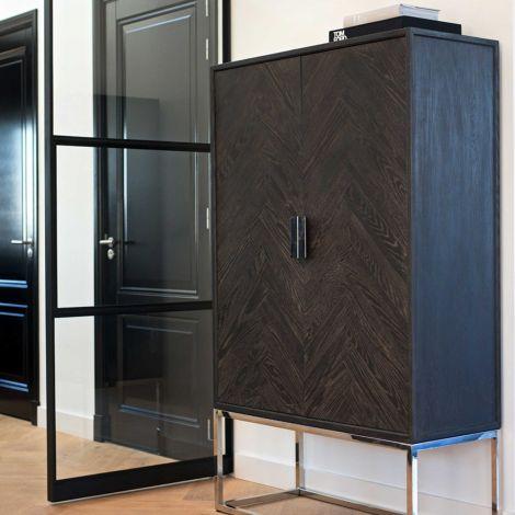Wandkast Bony 108cm 2 deuren - zwart/zilver