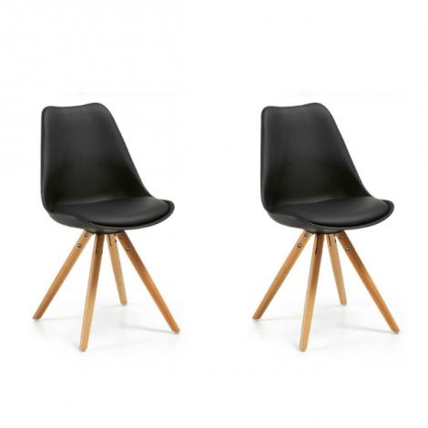 Set van 2 stoelen Ralf hout/kunststof - zwart