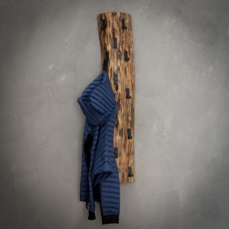 Portemanteau tronc d'arbre 14 crochets - Massif acacia naturel