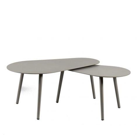 Set van 2 salontafels voor buiten Equator/Gabon - quartzgrijs