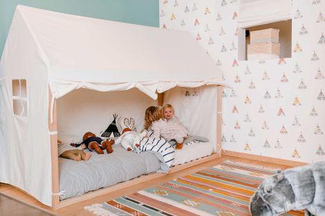 Bedtent voor bedframe Huis 90x200 - wit