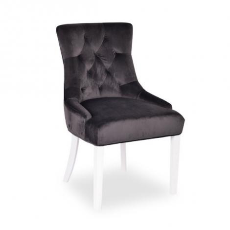 Set van 2 stoelen Christa velours - grijs/witte poten
