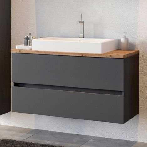 Meuble lavabo Pisca 100cm 2 tiroirs - graphite