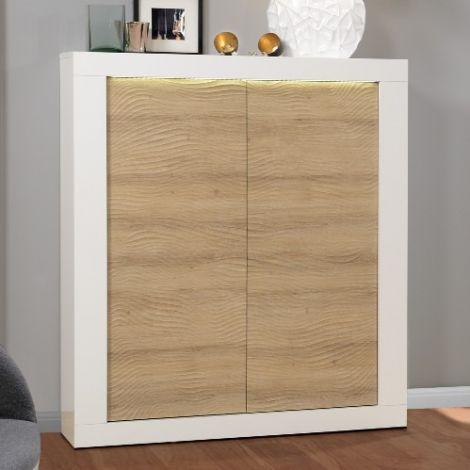 Buffetkast Kaia 121cm 2 deuren - hoogglans wit/eik