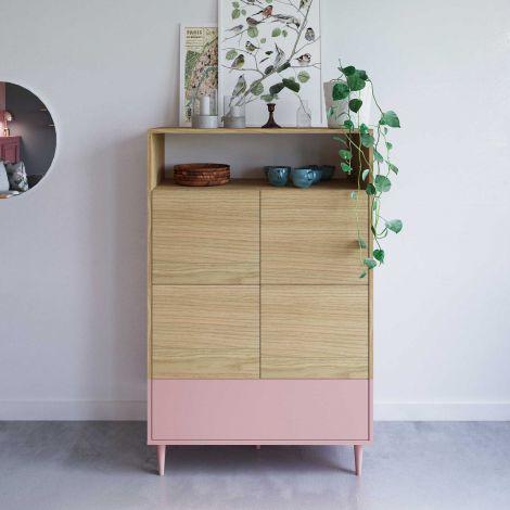 Buffetkast Horizon hoog - eik/roze