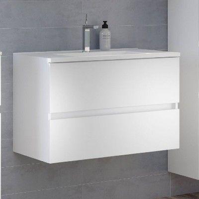 Meuble lavabo Brama 100cm 2 tiroirs - blanc