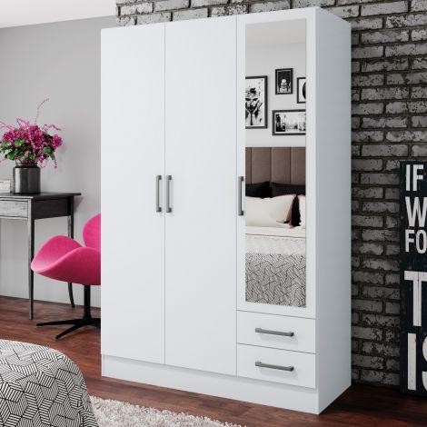 Armoire à vêtements Infas 120cm avec 3 portes & 2 tiroirs - blanc brillant