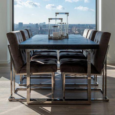 Table à manger Bony 220x100cm - noir/argent