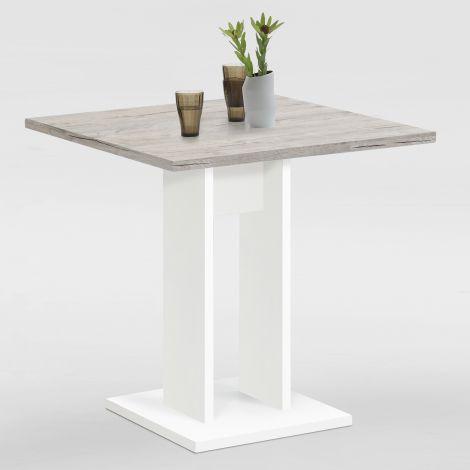 Table à manger Brandon 70x70 - blanc/chêne gris