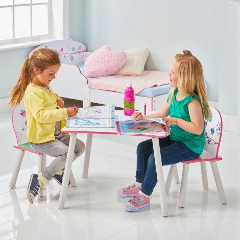 Kindertafel met stoeltjes Bloemen en Vogels