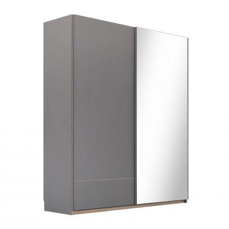 Kledingkast Birger 202 cm 2 schuifdeuren & spiegel - grijs