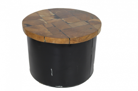 Salontafel Drum - black resin - teak / ijzer