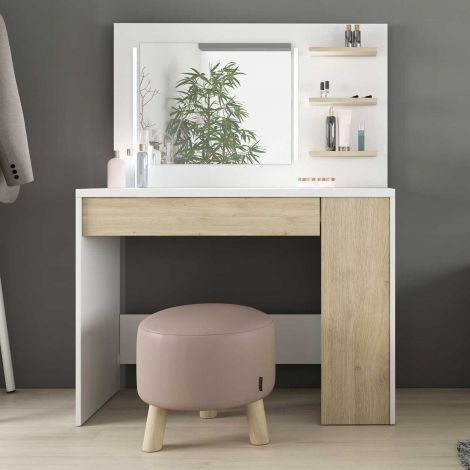 Make-uptafel Glamour - wit/eik