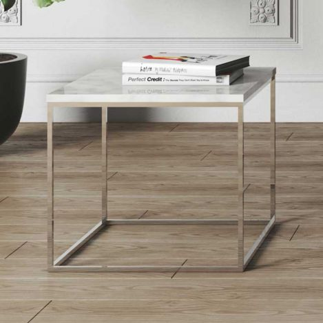 Table d'appoint Gleam 50x50 - marbre blanc/chrome