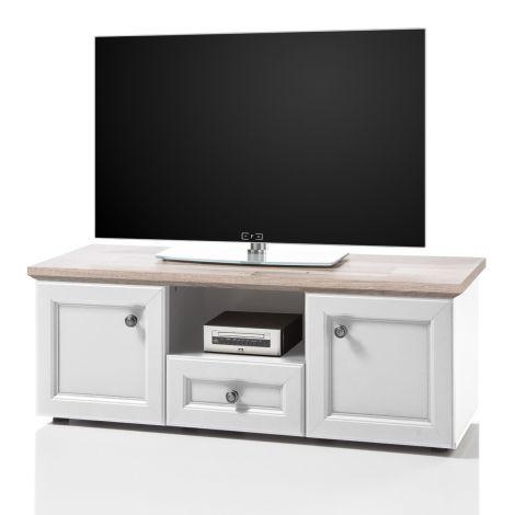 Meuble TV Norah 122cm - blanc/brun