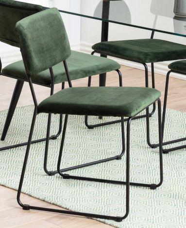 Set de 2 chaises en velours Nelly - vert forêt/noir