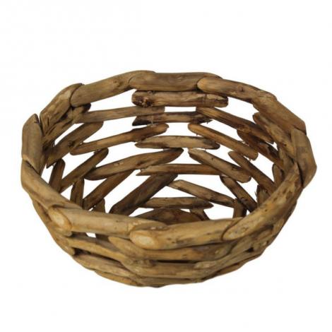 Fruitmand ø35 cm - geweven gerecycled hout