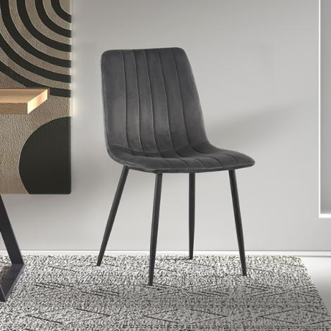 Set van 2 stoelen Willie velours - grijs/zwart