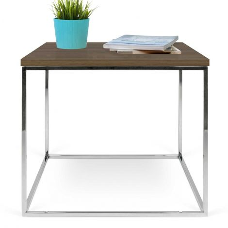 Table d'appoint Gleam 50x50 - noyer/chromem