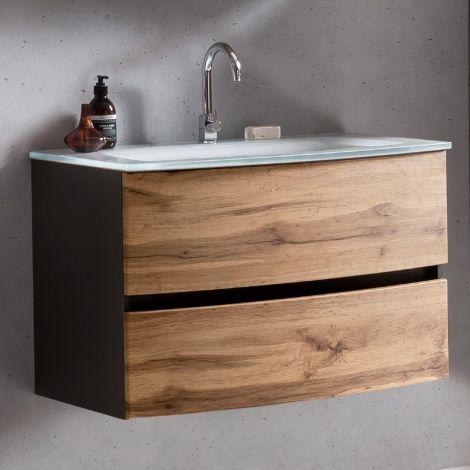 Meuble vasque Kornel 80cm avec vasque blanche - gris graphite/chêne