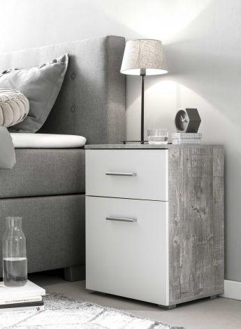 Nachtkastje Bedside 1 lade & 1 deur - wit/beton