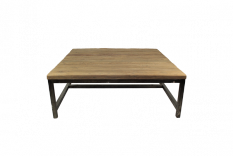 Salontafel Hunter - 80x80 cm - reclaimed teak / ijzer