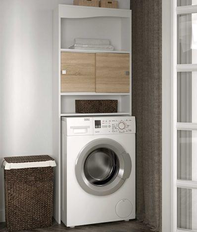 Meuble Splash pour lave-linge/W.-C. - blanc/chêne