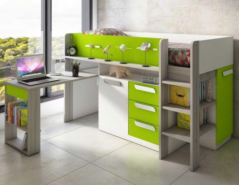 Halfhoogslaper met bureau Beau - groen