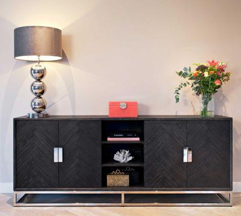 Dressoir Bony 225cm 4 deuren - zwart/zilver
