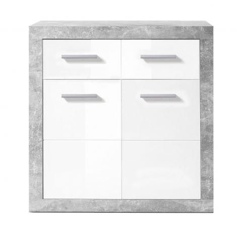 Commode Stanno 82 cm avec 2 portes & 2 tiroirs - béton/blanc
