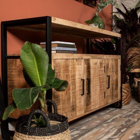 Dressoir Havana 130cm met 3 deuren - mangohout/ijzer