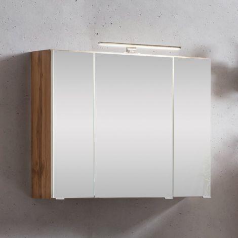 Spiegelkast Kornel/Luna 80cm 3 deuren & ledverlichting - eik